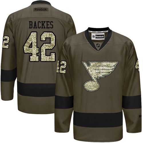 2016 St.Louis Blues 42 David Backes Green Salute to Service Stitched NHL Jersey