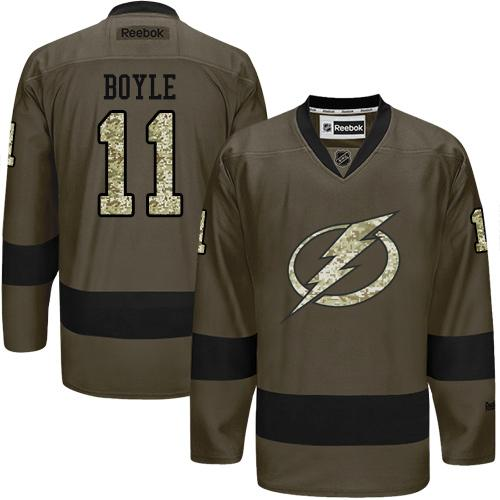 2016 Tampa Bay Lightning 11 Brian Boyle Green Salute to Service Stitched NHL Jersey