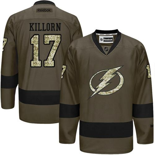 2016 Tampa Bay Lightning 17 Alex Killorn Green Salute to Service Stitched NHL Jersey