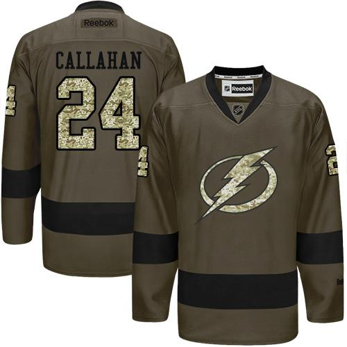 2016 Tampa Bay Lightning 24 Ryan Callahan Green Salute to Service Stitched NHL Jersey