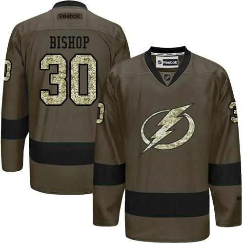 2016 Tampa Bay Lightning 30 Ben Bishop Green Salute to Service Stitched NHL Jersey