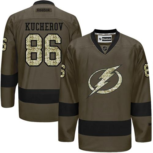 2016 Tampa Bay Lightning 86 Nikita Kucherov Green Salute to Service Stitched NHL Jersey