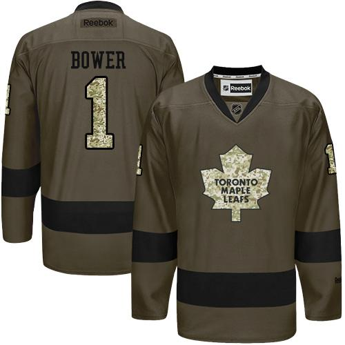 2016 Toronto Maple Leafs 1 Johnny Bower Green Salute to Service Stitched NHL Jersey