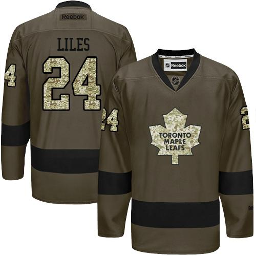 2016 Toronto Maple Leafs 24 John-Michael Liles Green Salute to Service Stitched NHL Jersey