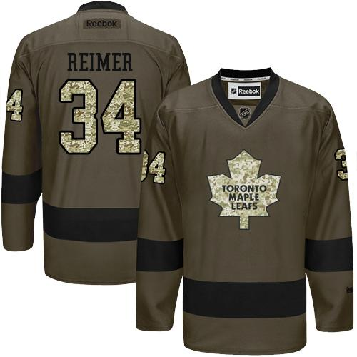 2016 Toronto Maple Leafs 34 James Reimer Green Salute to Service Stitched NHL Jersey