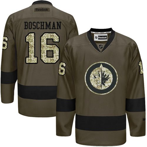 2016 Winnipeg Jets 16 Laurie Boschman Green Salute to Service Stitched NHL Jersey