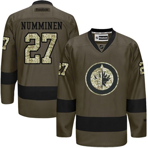 2016 Winnipeg Jets 27 Teppo Numminen Green Salute to Service Stitched NHL Jersey