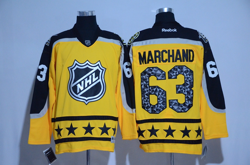 2017 NHL Boston Bruins 63 Marchand yellow All Star jerseys