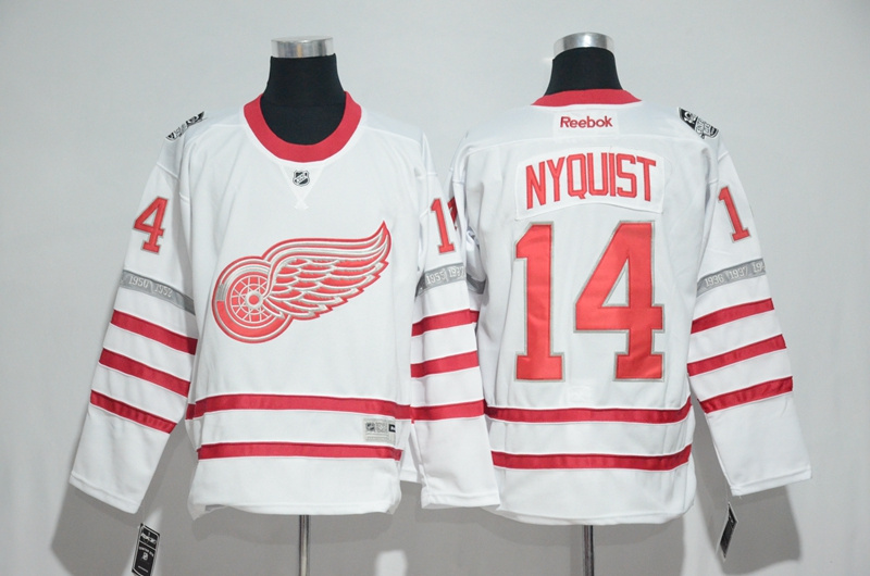 2017 NHL Detroit Red Wings 14 Nyquist White Jerseys