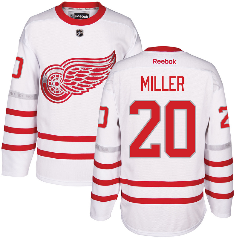 2017 NHL Detroit Red Wings 20 Miller White Jerseys