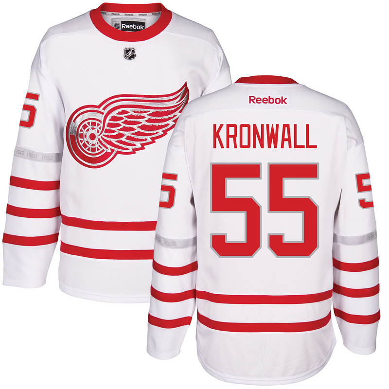 2017 NHL Detroit Red Wings 55 Kronwall White Jerseys