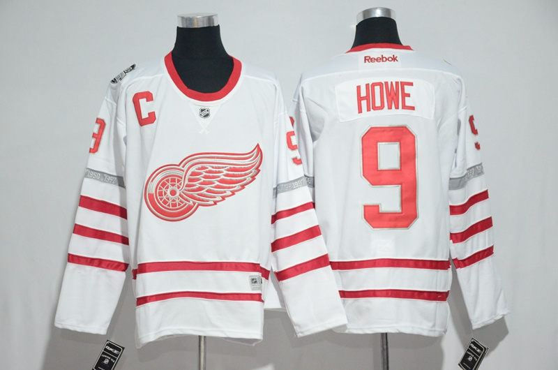 2017 NHL Detroit Red Wings 9 Howe White Jerseys