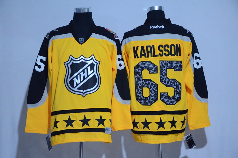 2017 NHL Ottawa Senators 65 Karlsson yellow All Star jerseys