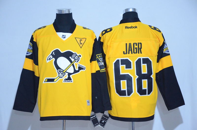 2017 NHL Pittsburgh Penguins 68 Jagr Yellow Jerseys