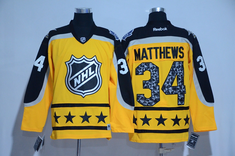 2017 NHL Toronto Maple Leafs 34 Matthews yellow All Star jerseys