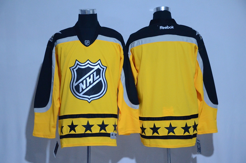 2017 NHL blank yellow customized All Star jerseys