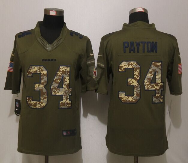 Chicago Bears 34 Payton Green Salute To Service New Nike Limited Jersey