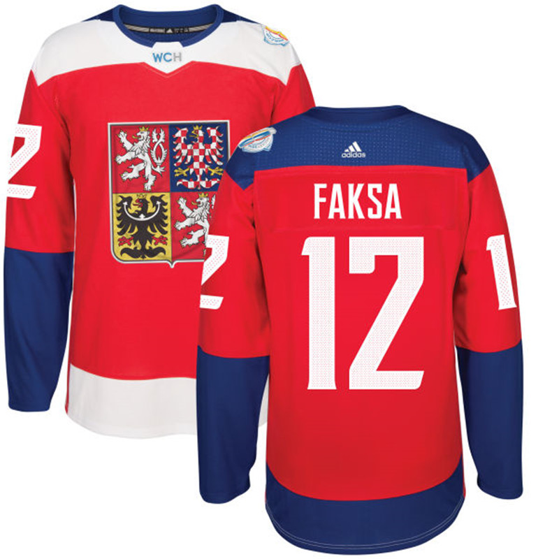 Czech Republic Hockey 12 Faksa red World Cup of Hockey 2016 adidas Stitched Jersey