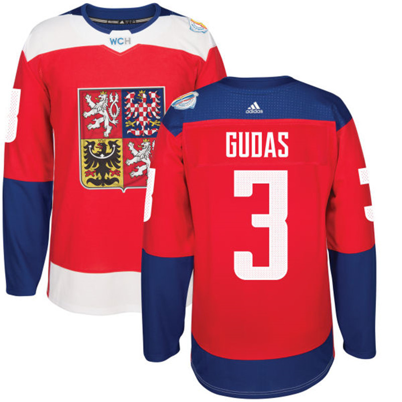 Czech Republic Hockey 3 Gudas red World Cup of Hockey 2016 adidas Stitched Jersey