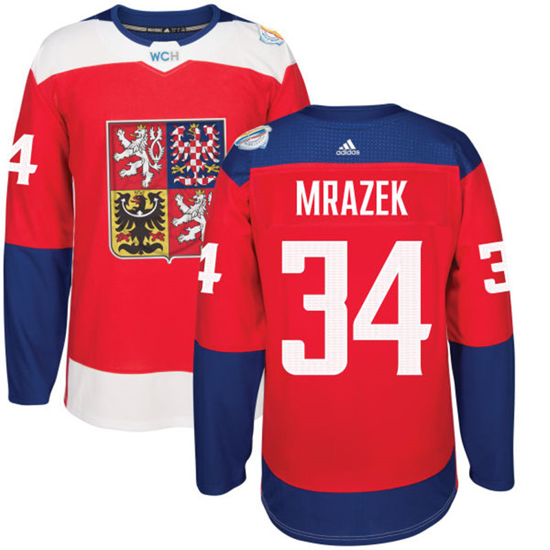 Czech Republic Hockey 34 Mrazek red World Cup of Hockey 2016 adidas Stitched Jersey