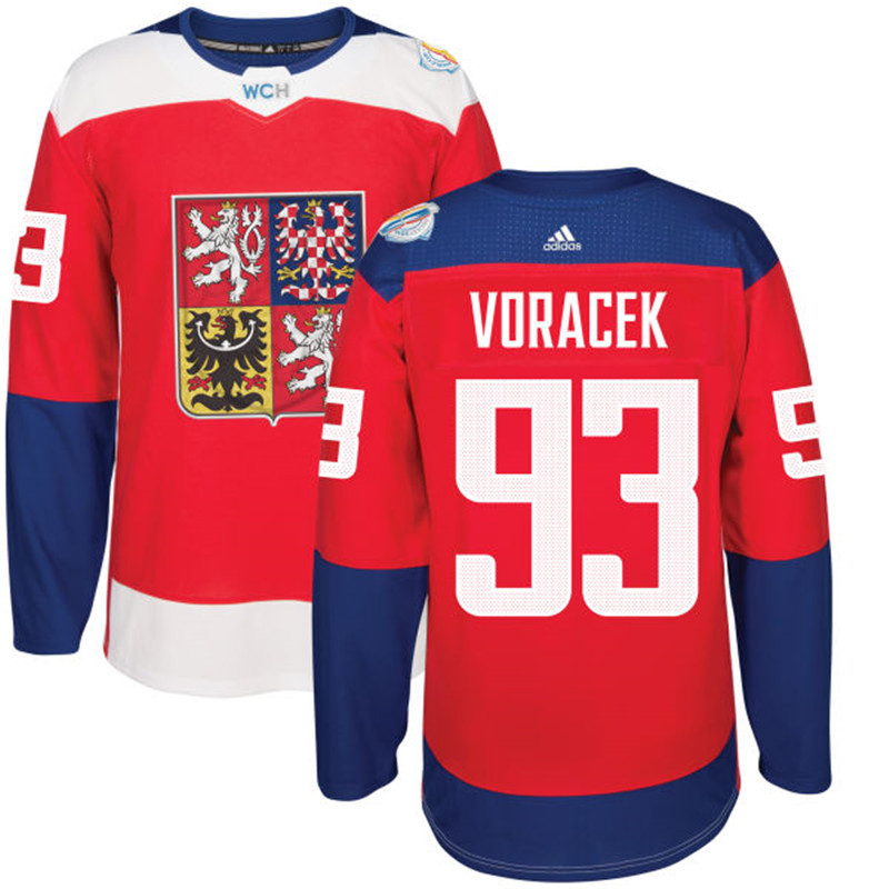 Czech Republic Hockey 93 Voracek red World Cup of Hockey 2016 adidas Stitched Jersey