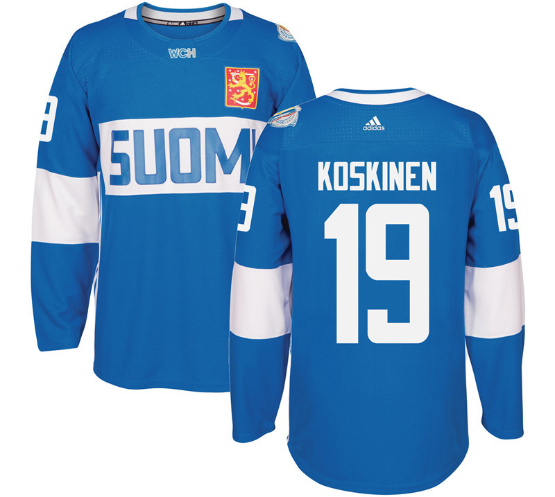 Finland Hockey 19 Mikko Koskinen Mens Blue World Cup of Hockey 2016 adidas Stitched Jersey