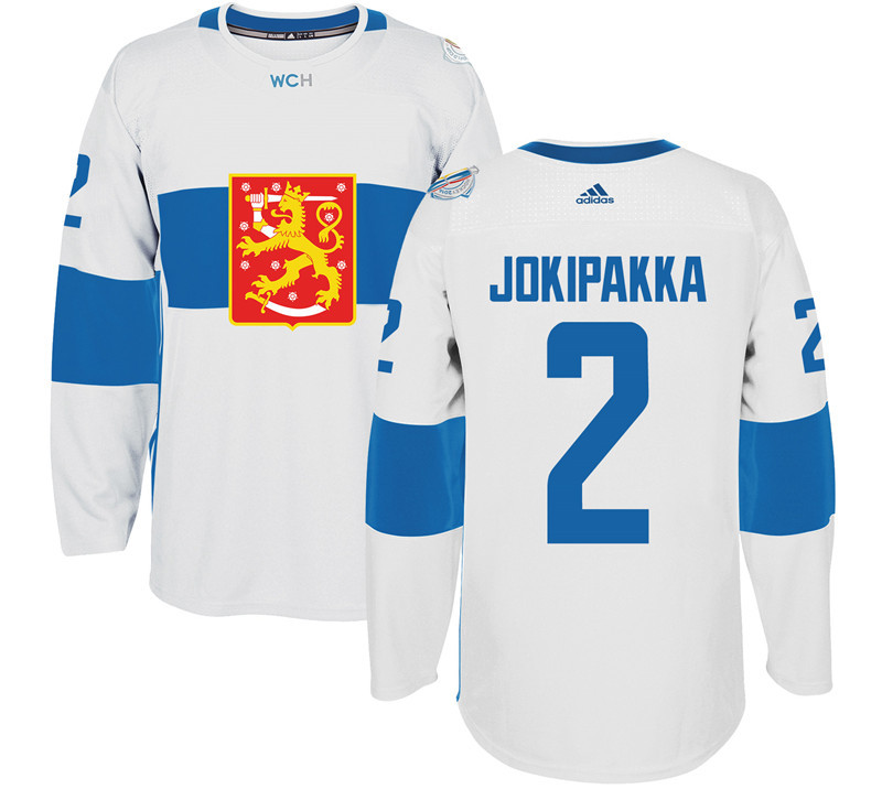 Finland Hockey 2 Jyrki Jokipakka White World Cup of Hockey 2016 adidas Mens Stitched Jersey