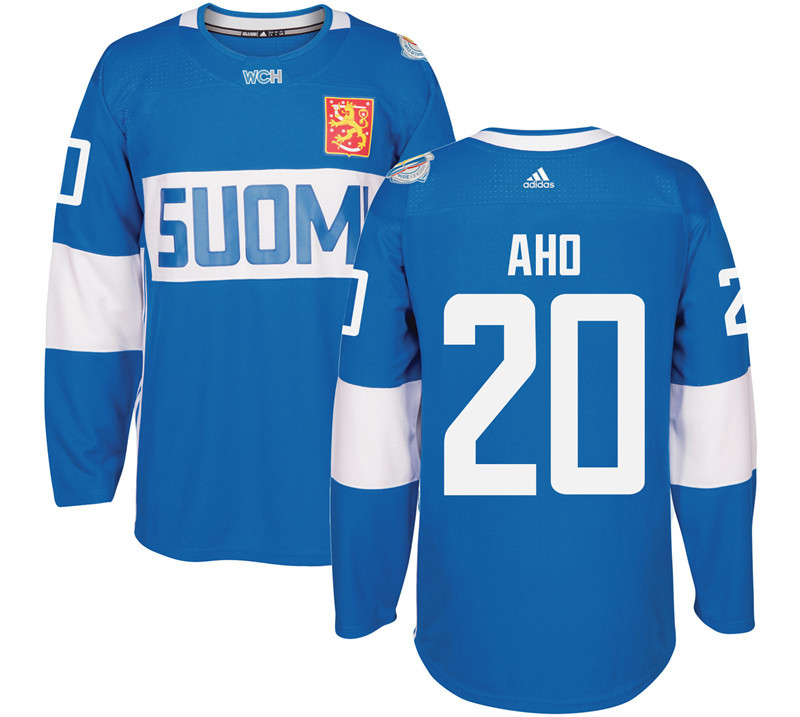 Finland Hockey 20 Sebastian Aho Mens Blue World Cup of Hockey 2016 adidas Stitched Jersey