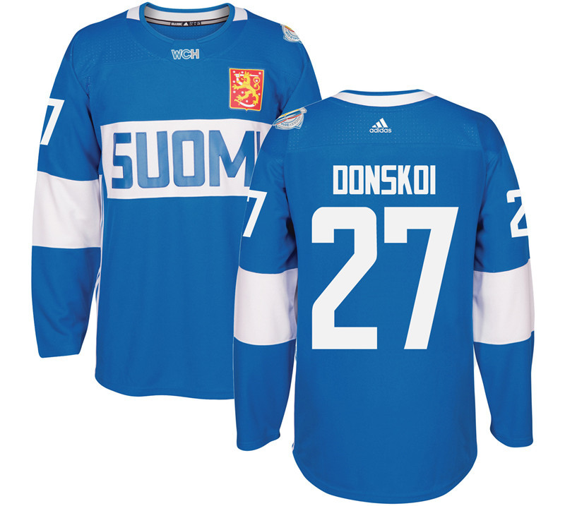 Finland Hockey 27 Joonas Donskoi Mens Blue World Cup of Hockey 2016 adidas Stitched Jersey