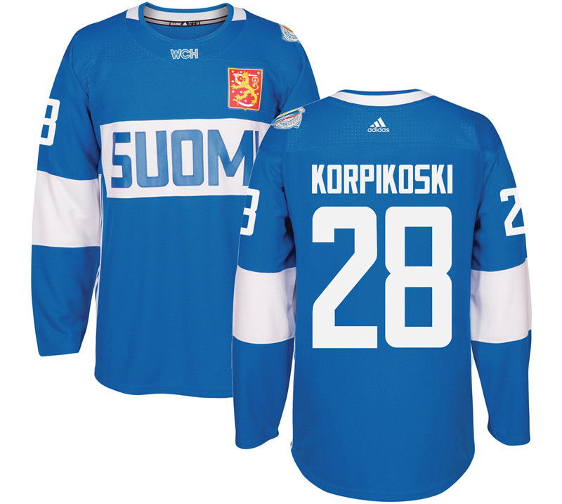 Finland Hockey 28 Lauri Korpikoski Mens Blue World Cup of Hockey 2016 adidas Stitched Jersey