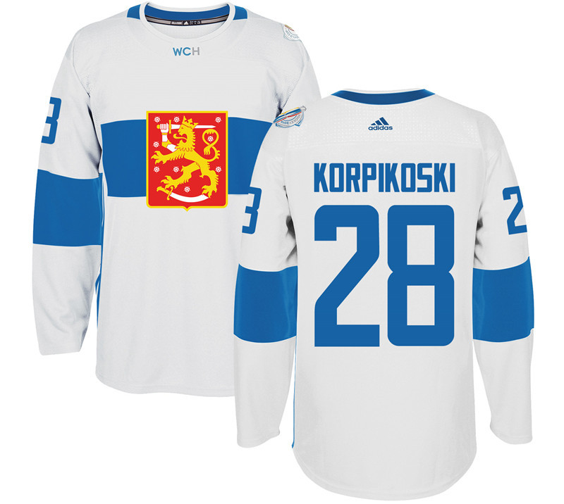 Finland Hockey 28 Lauri Korpikoski White World Cup of Hockey 2016 adidas Mens Stitched Jersey