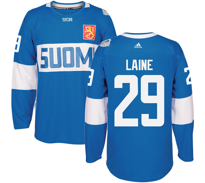 Finland Hockey 29 Patrik Laine Mens Blue World Cup of Hockey 2016 adidas Stitched Jersey
