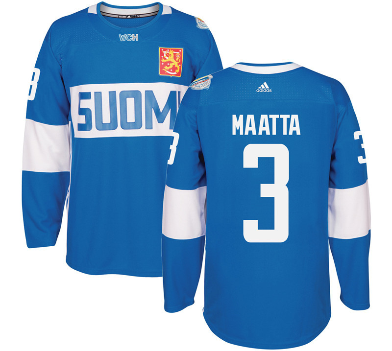 Finland Hockey 3 Maatta blue World Cup of Hockey 2016 adidas Stitched Jersey