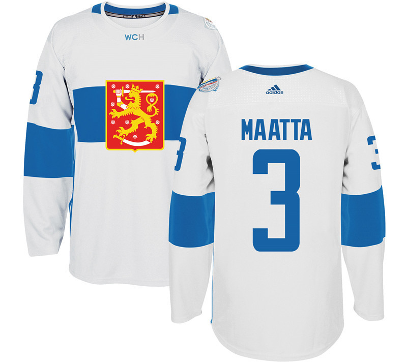 Finland Hockey 3 Olli Maatta White World Cup of Hockey 2016 adidas Mens Stitched Jersey