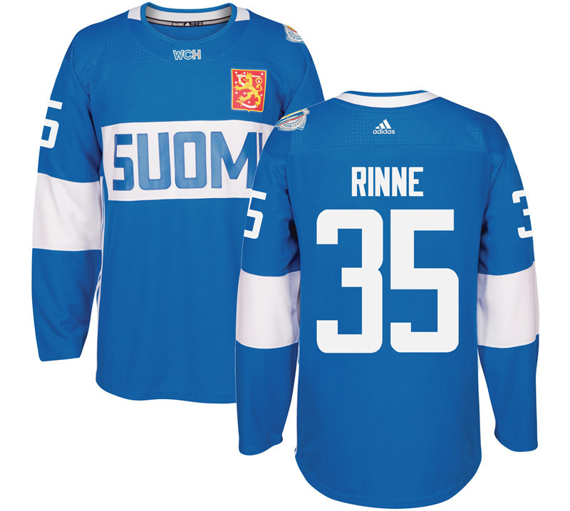 Finland Hockey 35 Pekka Rinne blue World Cup of Hockey 2016 adidas Mens Stitched Jersey