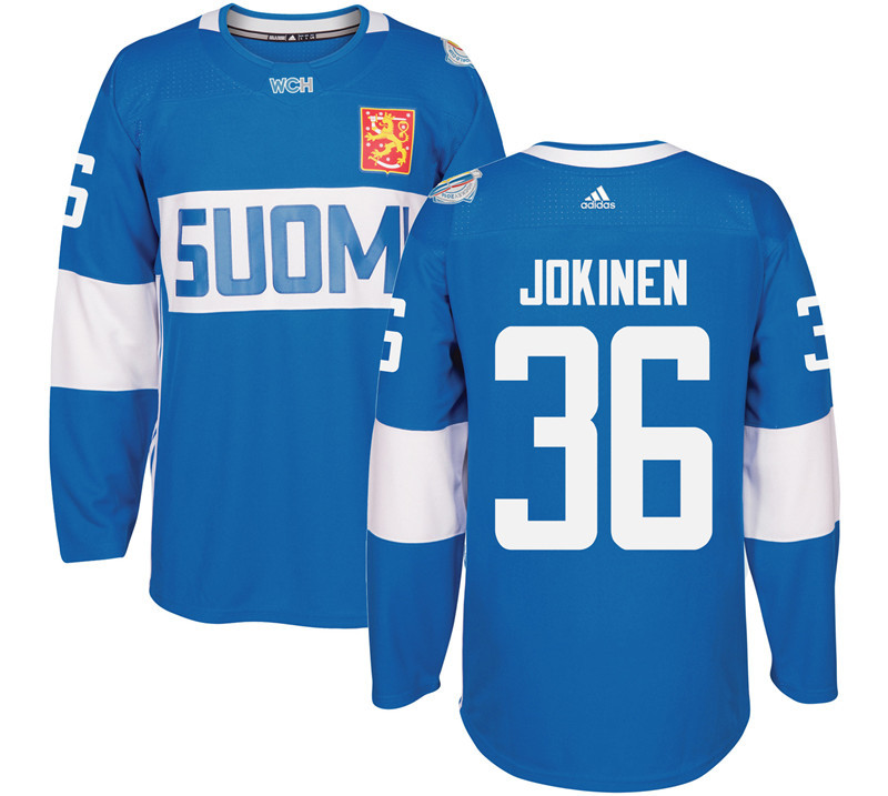 Finland Hockey 36 Jussi Jokinen Mens Blue World Cup of Hockey 2016 adidas Stitched Jersey