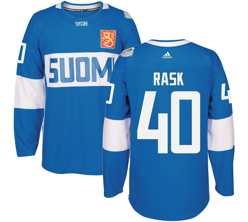 Finland Hockey 40 Tuuka Rask Mens Blue World Cup of Hockey 2016 adidas Stitched Jersey