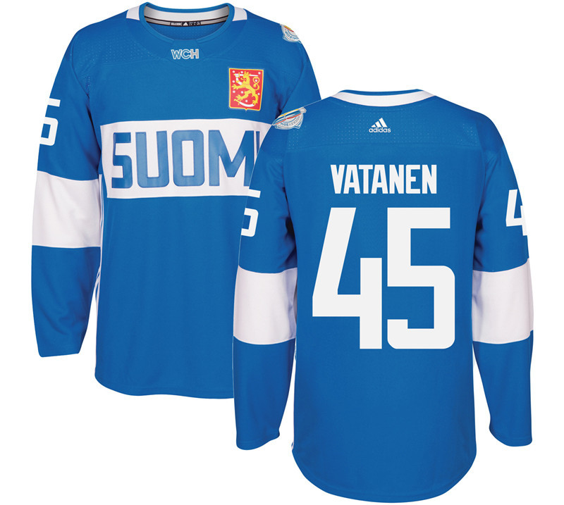 Finland Hockey 45 Sami Vatanen Mens Blue World Cup of Hockey 2016 adidas Stitched Jersey