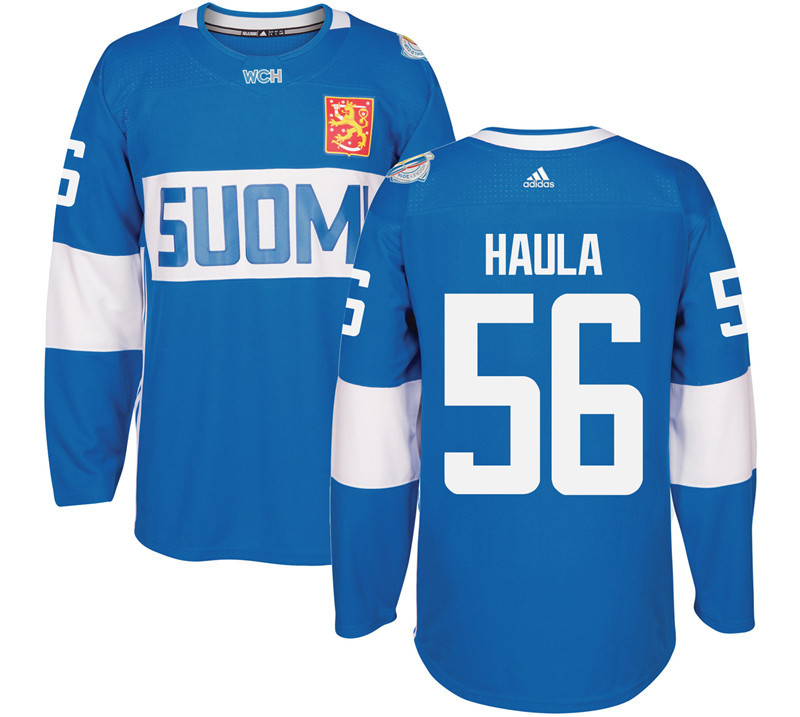 Finland Hockey 56 Erik Haula Mens Blue World Cup of Hockey 2016 adidas Stitched Jersey