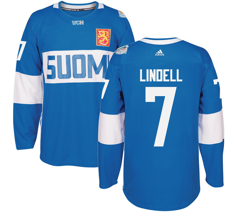 Finland Hockey 7 Lindell blue World Cup of Hockey 2016 adidas Stitched Jersey