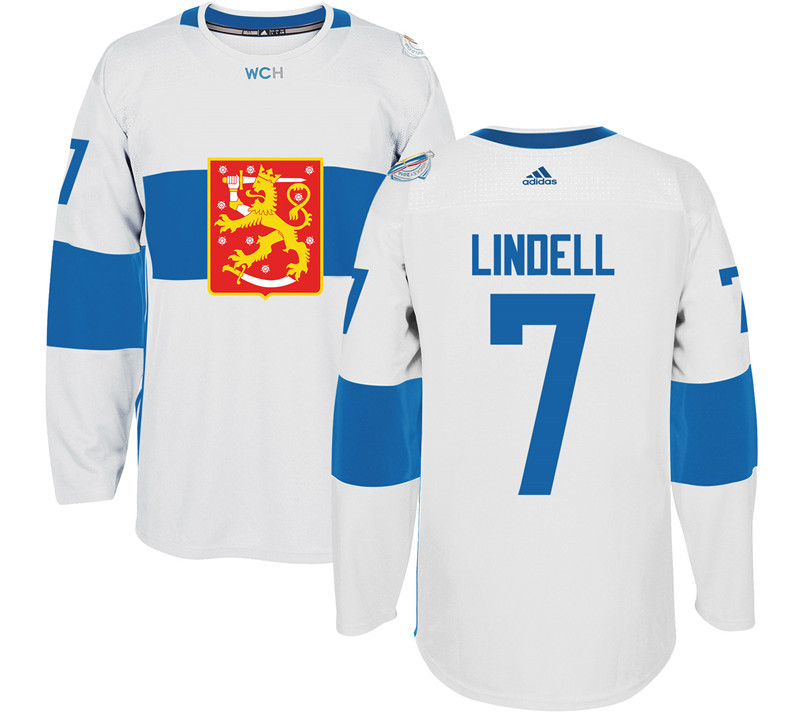 Finland Hockey 7 Lindell white World Cup of Hockey 2016 adidas Stitched Jersey