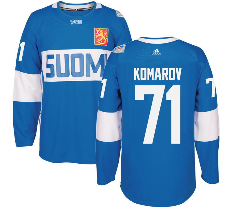 Finland Hockey 71 Leo Komarov Mens Blue World Cup of Hockey 2016 adidas Stitched Jersey