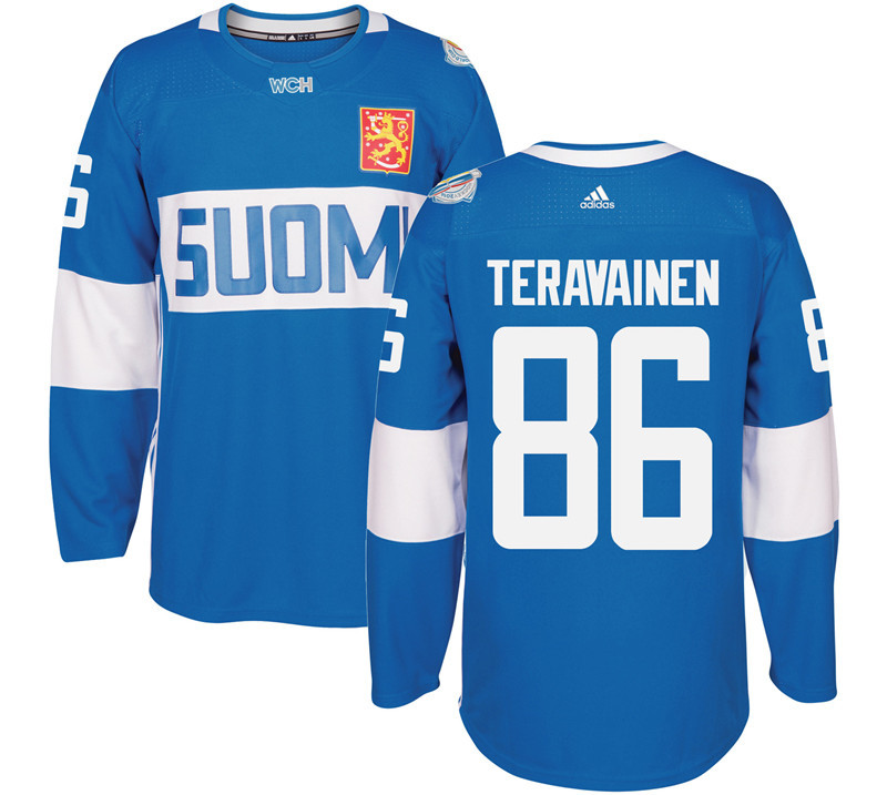 Finland Hockey 86 Teuvo Teravainen Mens Blue World Cup of Hockey 2016 adidas Stitched Jersey