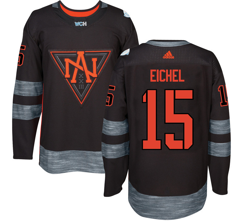 Men North America Hockey 15 Eichel adidas Black World Cup of Hockey 2016 Jersey