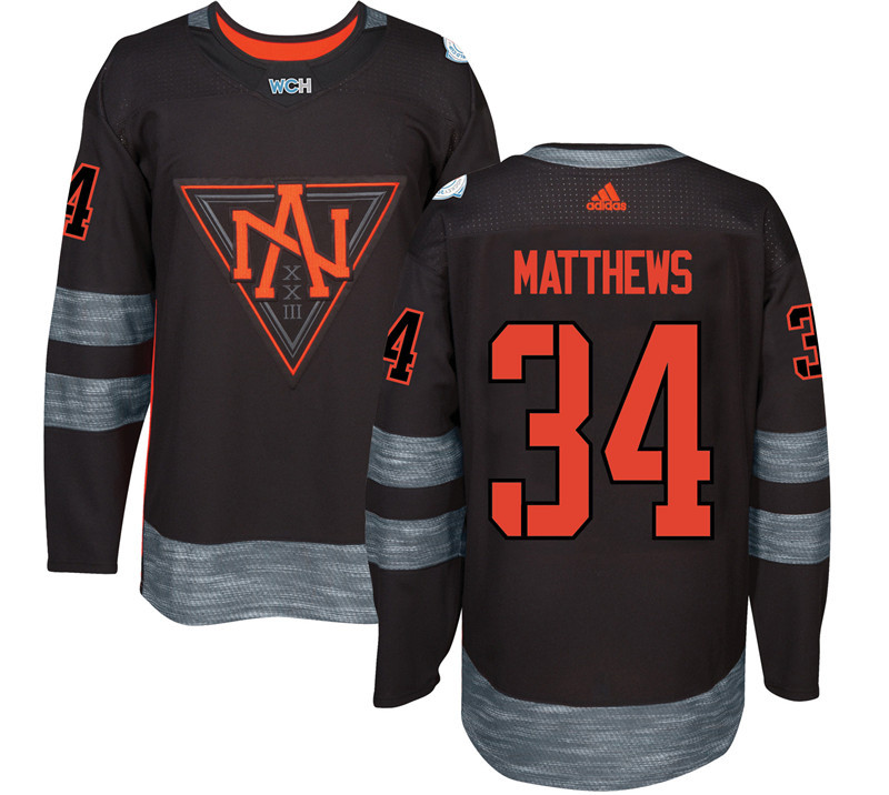 Men North America Hockey 34 Matthews adidas Black World Cup of Hockey 2016 Jersey