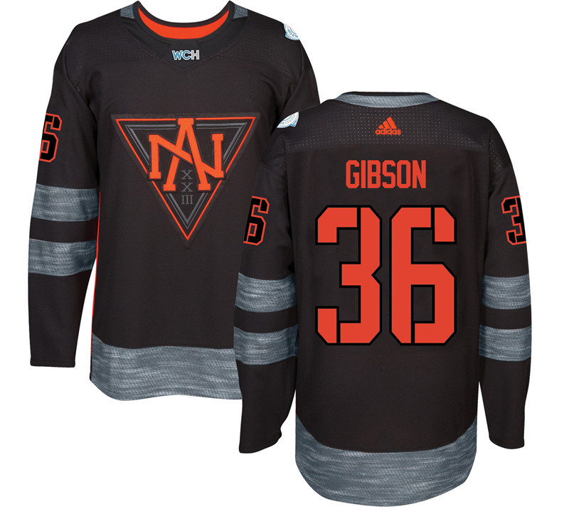Men North America Hockey 36 Gibson adidas Black World Cup of Hockey 2016 Jersey