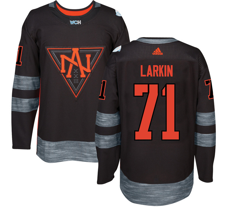Men North America Hockey 71 Dylan Larkin adidas Black World Cup of Hockey 2016 Jersey
