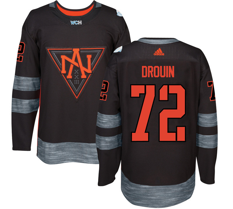 Men North America Hockey 72 Drouin adidas Black World Cup of Hockey 2016 Jersey