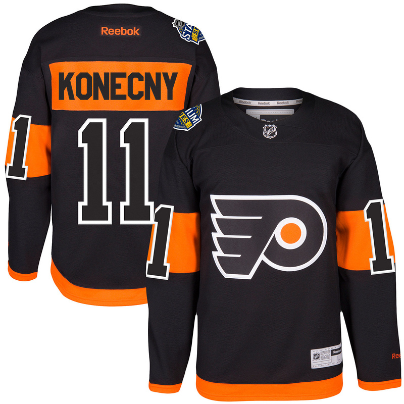 Men Philadelphia Flyers 11 Travis Konecny Reebok Black 2017 Stadium Series Player Premier Jersey (1)