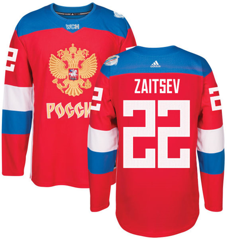 Men Russia Hockey 22 Zaitsev adidas red World Cup of Hockey 2016 Jersey